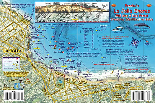 La Jolla Shores Fish Card, Road and Recreation Map, California, America.