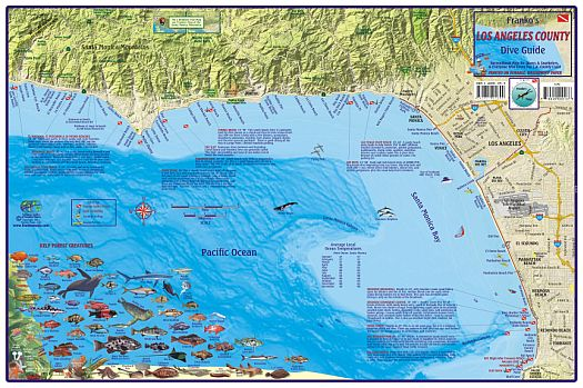 Los Angeles County Coast Diving and Recreation Map, California, America.