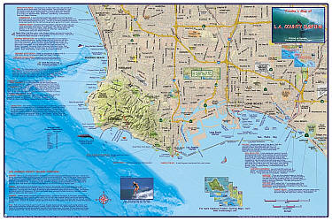 Los Angeles County Surfing Map, California, America.