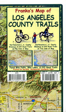 Los Angeles County Trails, Road and Recreation Map, California, America.