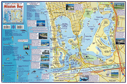 Mission Bay Guide and Waterways, Road and Recreation Map, California, America.