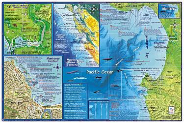 Monterey Dive and Guide Map, California, America.
