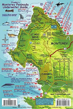 Monterey Peninsula Underwater Guide, Road and Recreation Map, California, America.