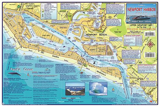 Newport Harbor Road and Recreation Map, California, America.