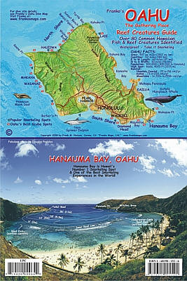 Oahu Reef Creatures Guide Road and Recreation Map, Hawaii, America.