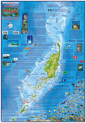 Palau Guide Road and Recreation Map, America.