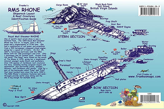 Rhone Wreck Fish Card Road and Recreation Map.