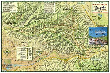 Santa Ana Mountains and Chino Hills, Road and Recreation Map, California, America.