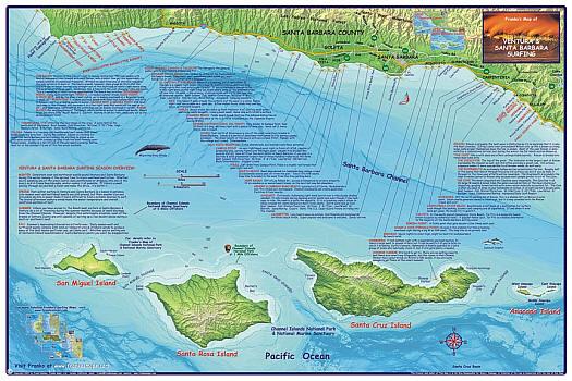 Santa Barbara and Ventura, Road and Recreation Map, California, America.