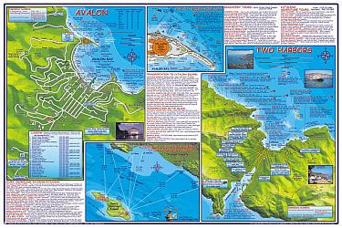 Santa Catalina Island Road and Recreation Map, California, America.