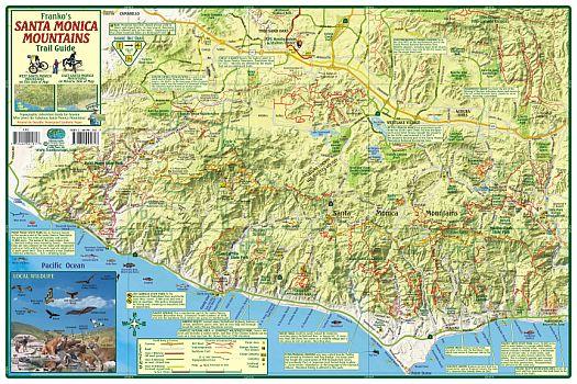 Santa Monica Mountains, Road and Recreation Map, California, America.