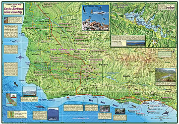 Santa Ynez Valley, Road and Recreation Map, California, America.