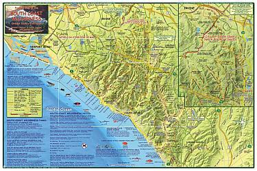 South Coast Wilderness Orange, Road and Recreation Map, California, America.
