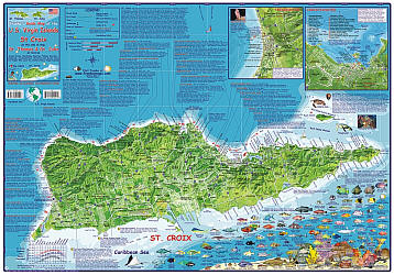 Virgin Islands, US Guide Road and Recreation Map, America.