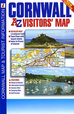 Cornwall Visitors Map, England, United Kingdom.