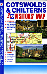 Cotswolds and Chilterns Visitors Road and Tourist Map.