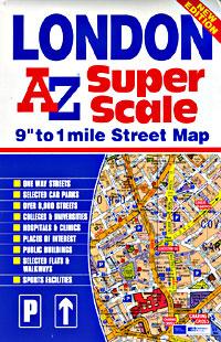 "LONDON ""Super Scale"" Map, England, United Kingdom."