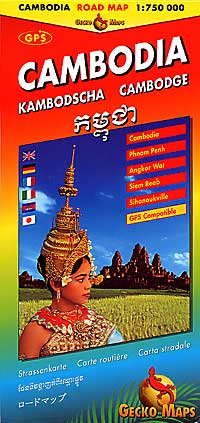 Cambodia Road and Tourist Map.