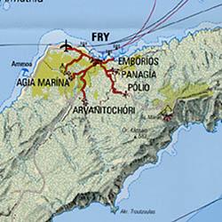 Karpathos Islands, Road and Tourist Map, Greece.