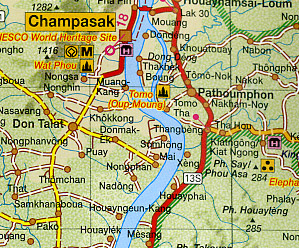 Laos Road and Shaded Relief Tourist Map.