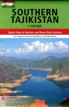 Tajikistan Southern Road and Tourist Map.