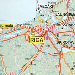 Baltic States, Road and Shaded Relief Tourist Map.