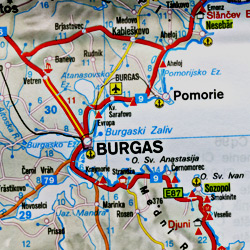 Bulgaria Road and Tourist Map.