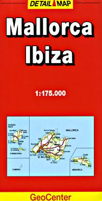 Mallorca and Ibiza Road and Tourist Map, Balearic Isles, Spain.