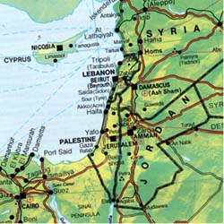 Middle East and North Africa Travel Reference Map.