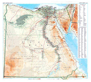 Egypt Physical WALL Map.