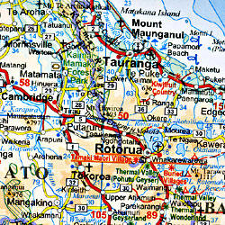 New Zealand Road and Physical Tourist Map.