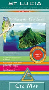 Saint Lucia Road and Physical Tourist Map.
