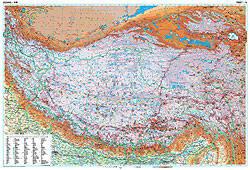 Tibet Physical WALL Map.