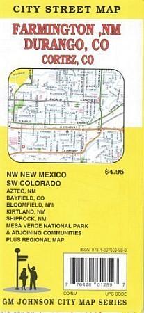 Farmington & Durango city map, Colorado, America.