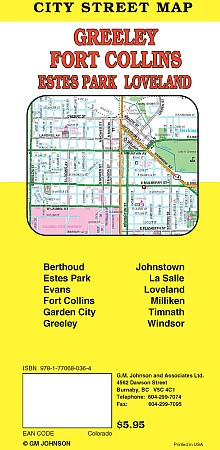 Ft. Collins & Loveland city map, Colorado, America.