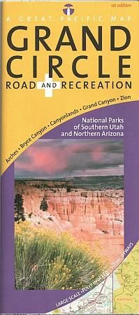 Arizona & Utah National Parks Grand Circle Recreation Road and Tourist Map, America.