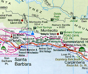 California Southern, Road and Recreation Map, California, America.