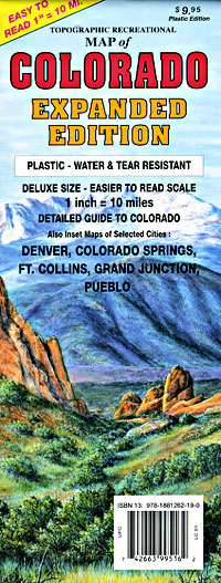 """Colorado Road and Recreation """"Oversized Expanded"""" Tourist Map, Colorado, America."""