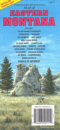 Montana, EAST, Road and Recreation Map, America.