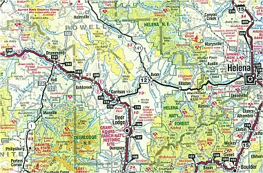 Montana, WEST, Road and Recreation Map, America.
