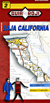 Baja California Norte, Road and Tourist Map, Mexico.