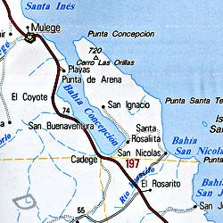 Baja California Sur, Road and Tourist Map, Mexico.