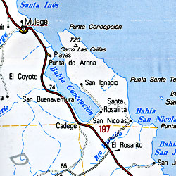 Baja California Sur, Road and Tourist Map, Mexico.