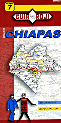 Chiapas State, Road and Tourist Map, Mexico.