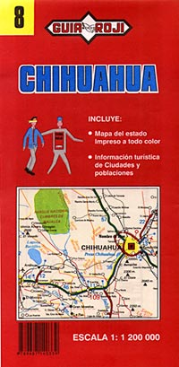 Chihuahua State, Road and Tourist Map, Mexico.