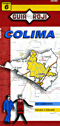 Colima State, Road and Tourist Map, Mexico.