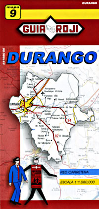 Durango State, Road and Tourist Map, Mexico.