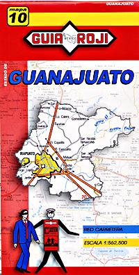 Guanajuato State, Road and Tourist Map, Mexico.