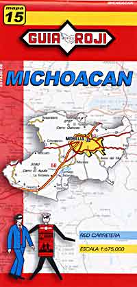 Michoacan State, Road and Tourist Map, Mexico.
