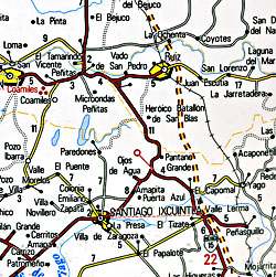 Nayarit State, Road and Tourist Map, Mexico.